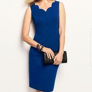 Talbots Blue Scalloped Ponte Sheath Dress